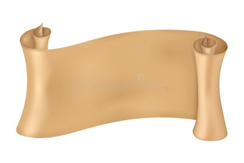 Rolo do pergaminho Bandeira dourada do papel 3d ilustração stock