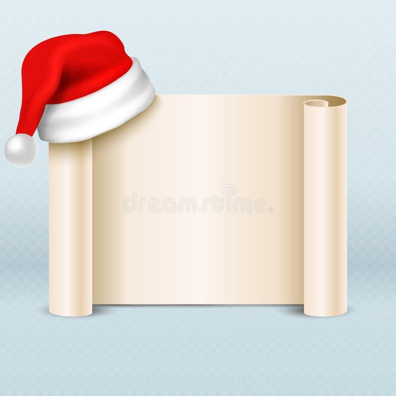 Rolo do pergaminho do papel vazio com o chapéu do vermelho de Papai Noel Molde do vetor do cartão do feriado do Xmas ilustração royalty free