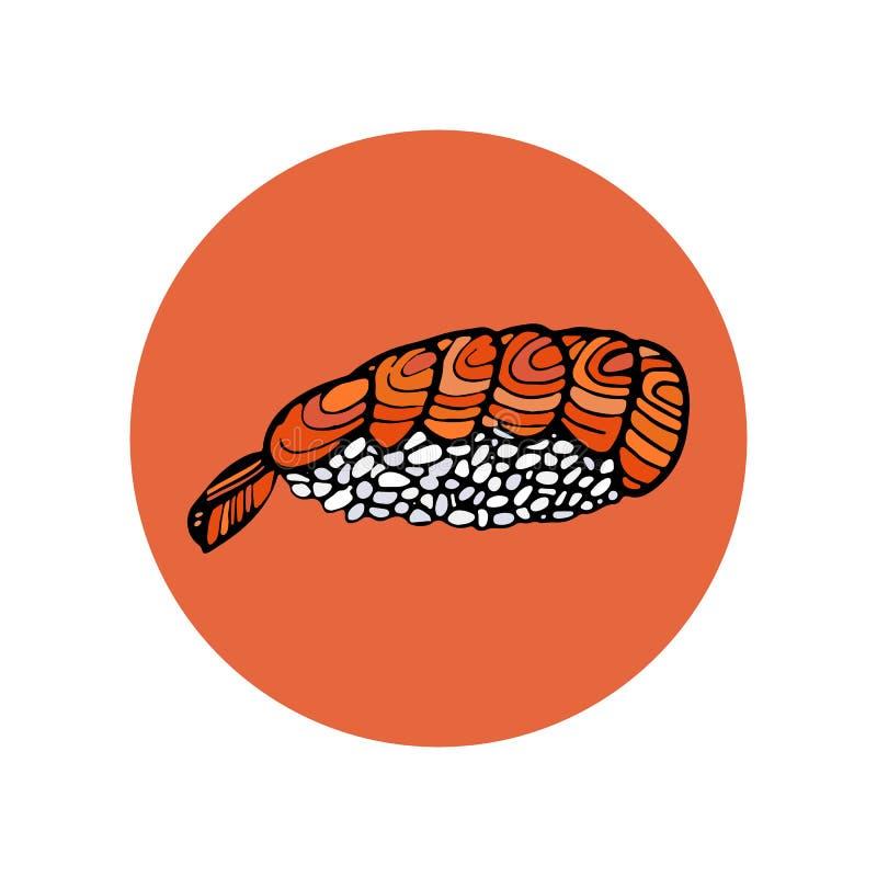 Rolo do sushi Alimento tradicional japonês, ícone Mão isolada tirada ilustração do vetor