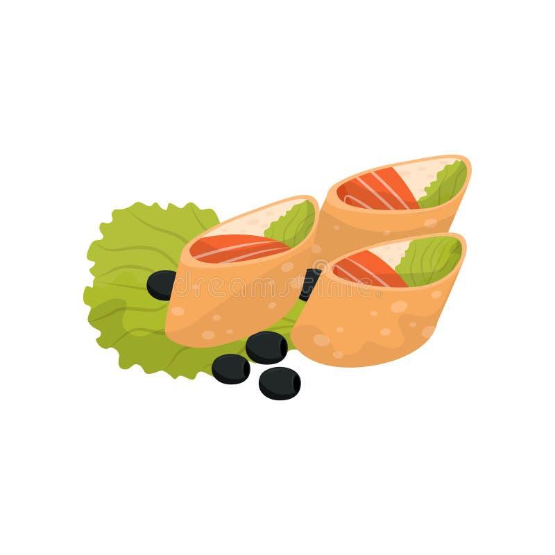 Rolo do trigo com queijo creme e salmões, ilustração do vetor do petisco do banquete em um fundo branco ilustração do vetor