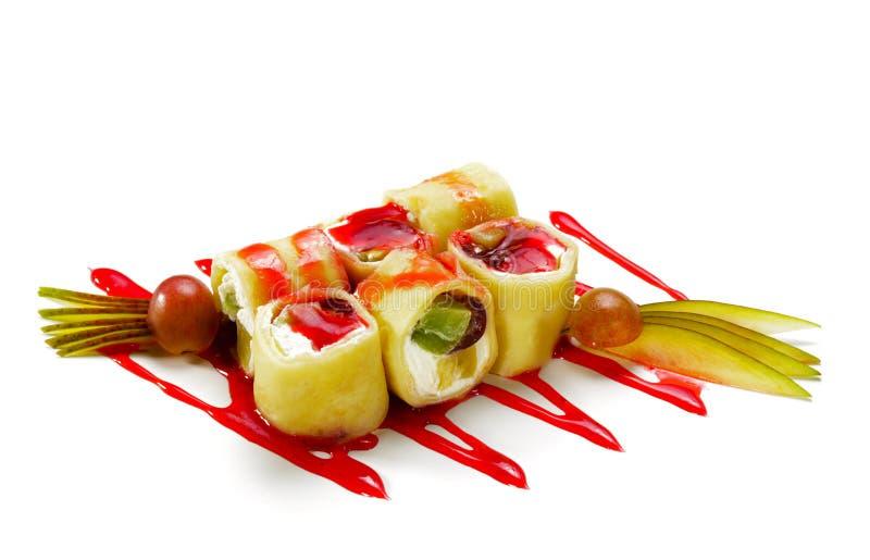 Rolo doce do sushi da fruta foto de stock royalty free