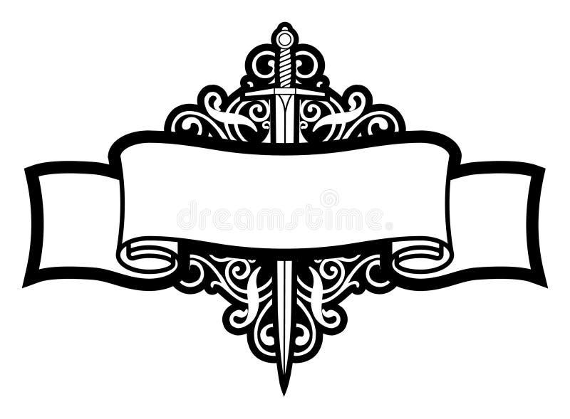 Rolo e espada ilustração royalty free