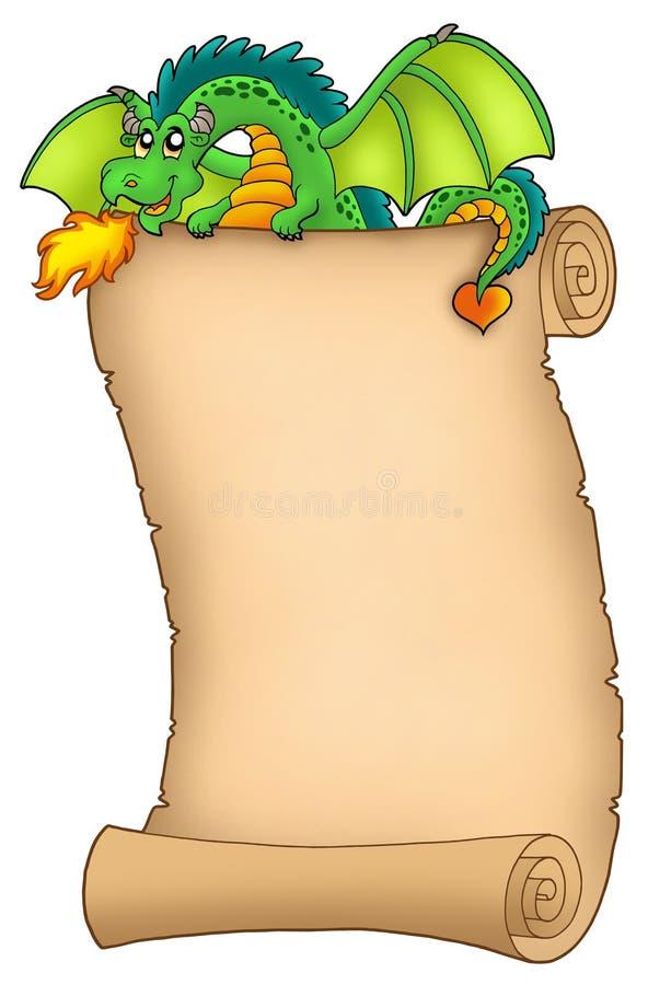 Rolo gigante da terra arrendada do dragão verde ilustração do vetor