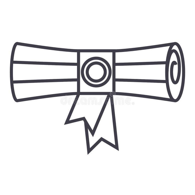 Rolo, linha ícone do vetor do certificado, sinal, ilustração no fundo, cursos editáveis ilustração royalty free