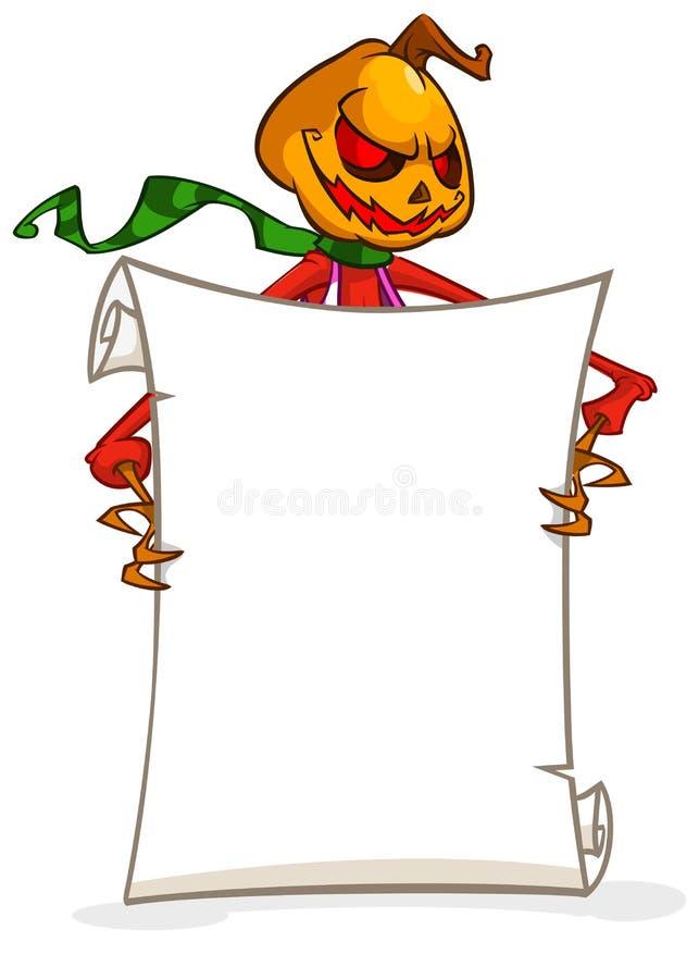 Rolo principal do papel vazio da terra arrendada da abóbora da lanterna do jaque o dos desenhos animados para o texto Ilustração  ilustração stock