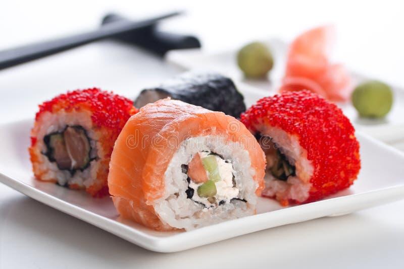 Rolo quatro, wasabi e gengibre fotografia de stock