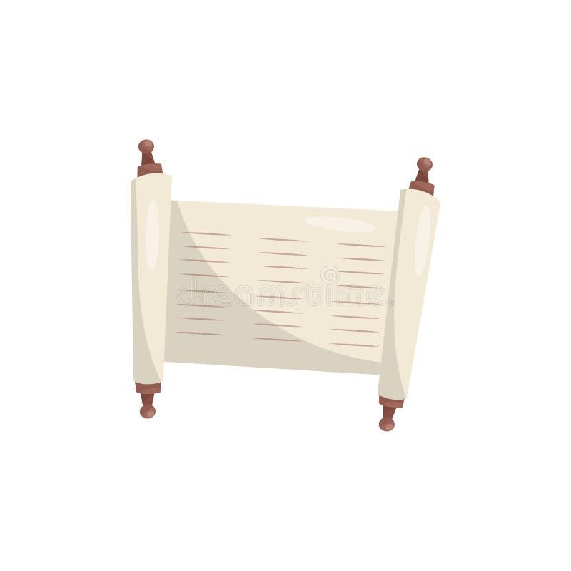 Rolo sagrado de Torah, ilustração antiga judaica do vetor do papiro em um fundo branco ilustração stock