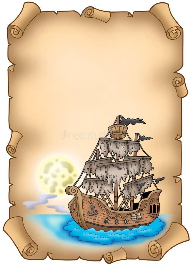 Rolo velho com navio misterioso ilustração royalty free