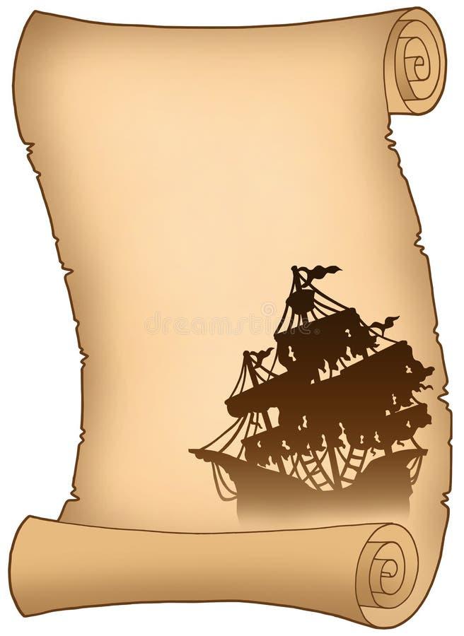 Rolo velho com a silhueta misteriosa do navio ilustração royalty free