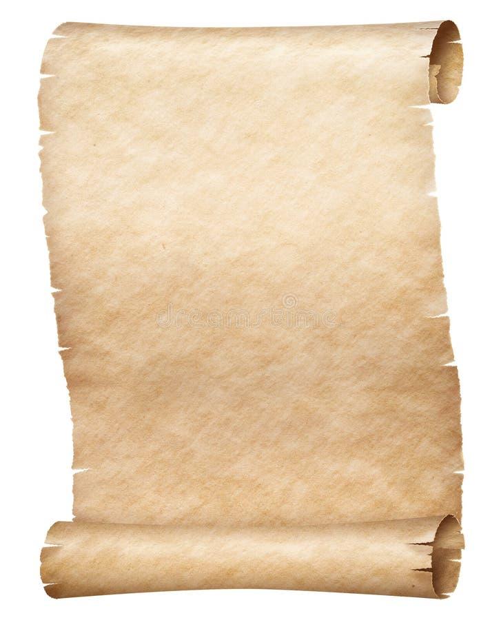 Rolo velho do papiro ou do pergaminho isolado no branco fotografia de stock