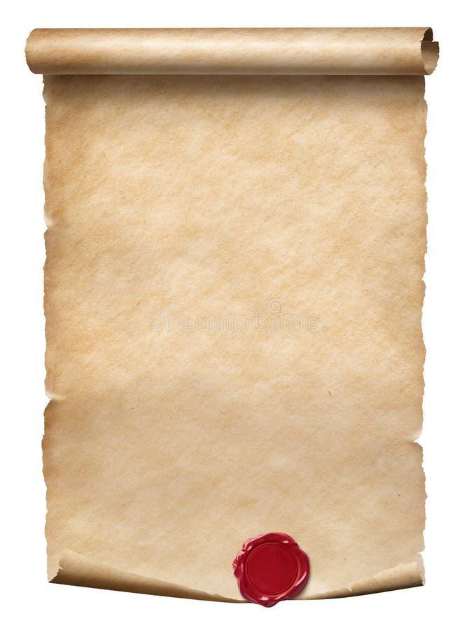 Rolo velho do pergaminho com o selo da cera isolado no branco imagens de stock royalty free