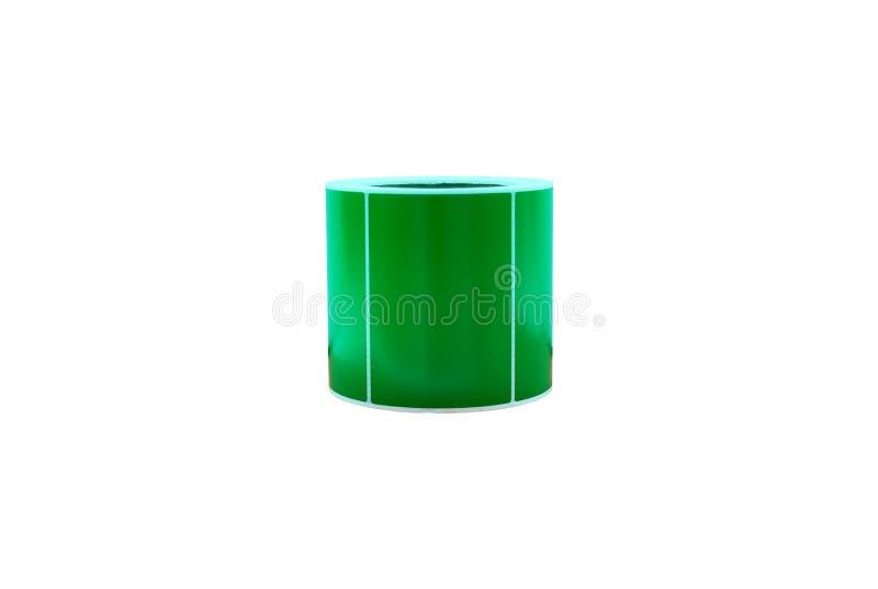 Rolo verde da etiqueta com trajeto de grampeamento fotografia de stock