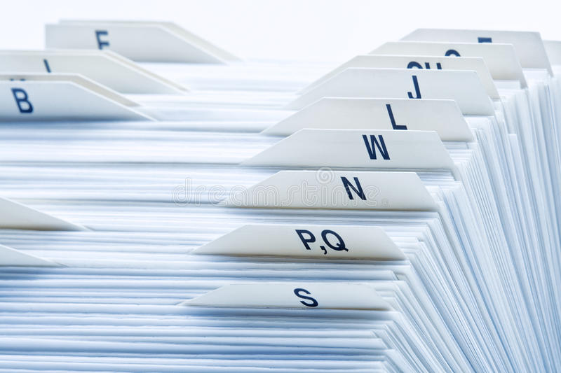 Rolodex. Closeup of rolodex cards organized by alphabetical order stock photos