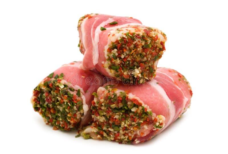 Rolos da carne de porco enchidos fotografia de stock