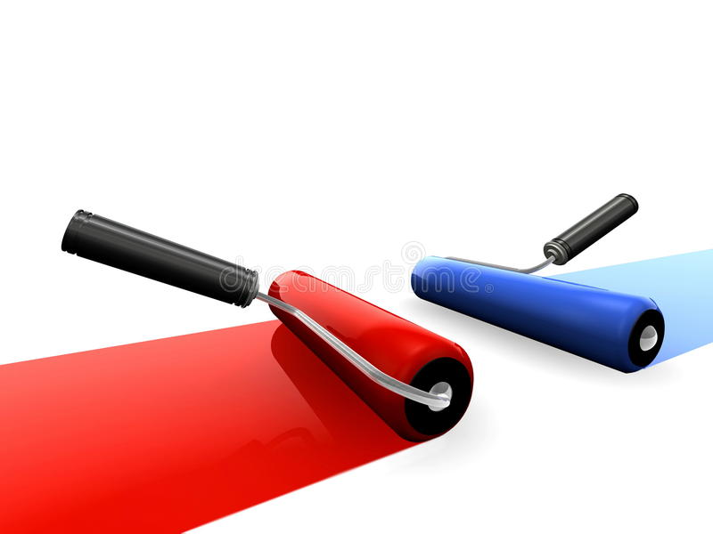 Rolos de pintura azuis e vermelhos ilustração stock