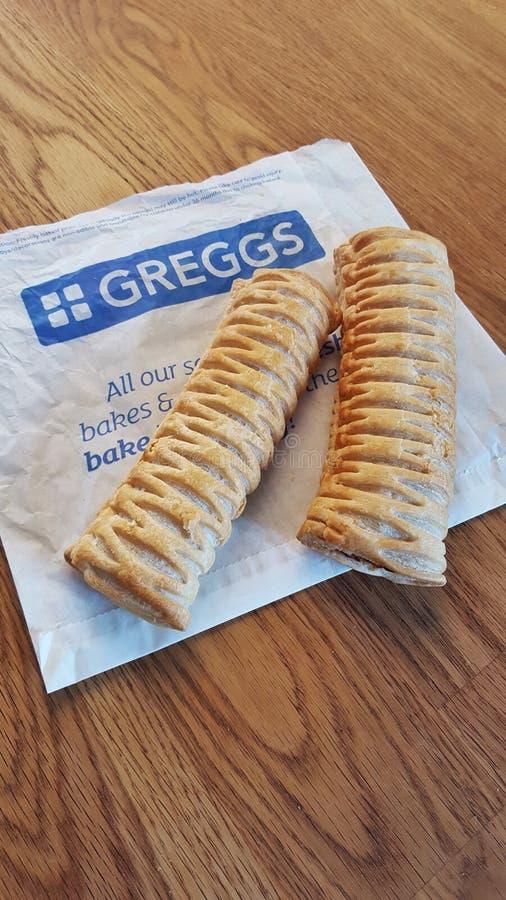 Rolos de salsicha do vegetariano de Greggs imagens de stock royalty free