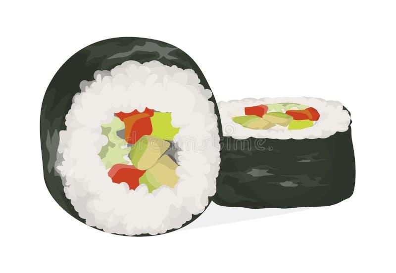 Rolos de sushi ajustados ilustração stock