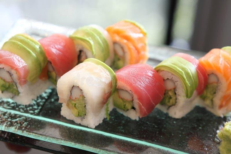 Rolos de sushi da mistura foto de stock