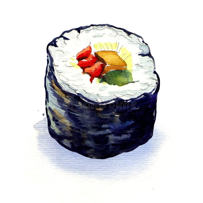 Rolos de sushi japoneses tradicionais isolados ilustração stock
