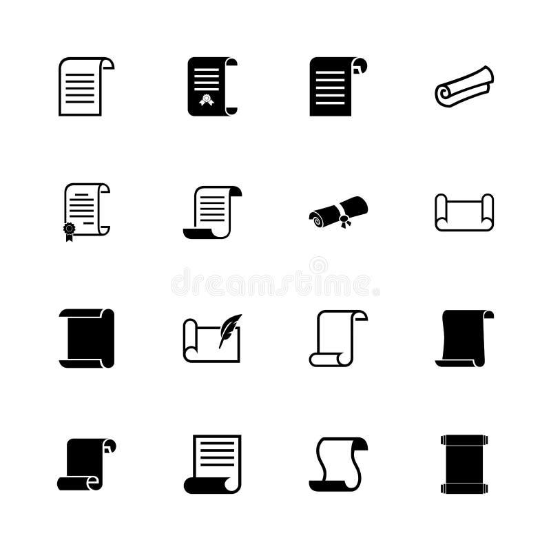 Rolos e papéis - ícones lisos do vetor ilustração do vetor