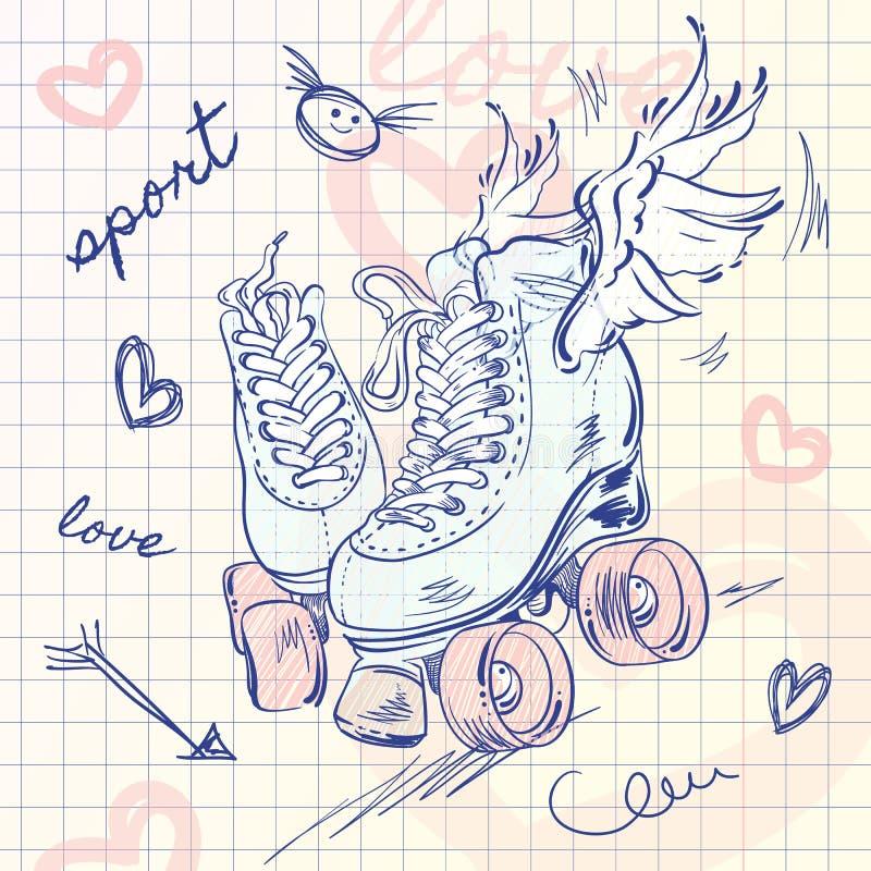 Rolos para patinar Ilustração do estilo do esboço da escola do vetor esporte meninas Amor ilustração royalty free