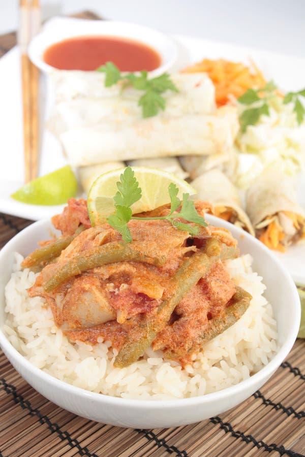 Rolos tailandeses do caril e de mola da galinha foto de stock royalty free
