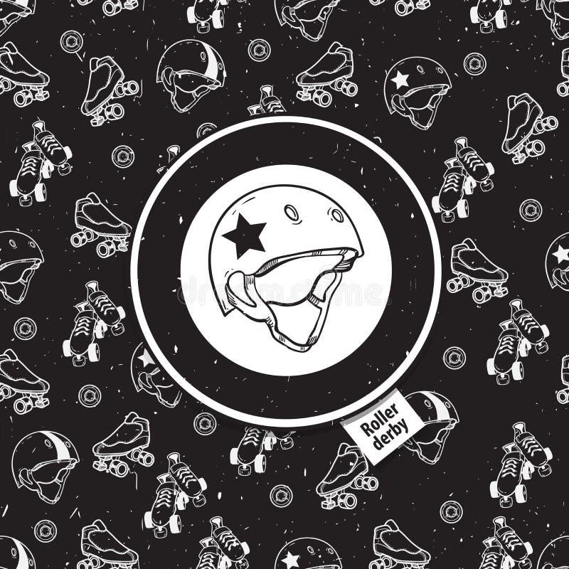 rolschaats naadloos patroon met rolpictogram stock illustratie