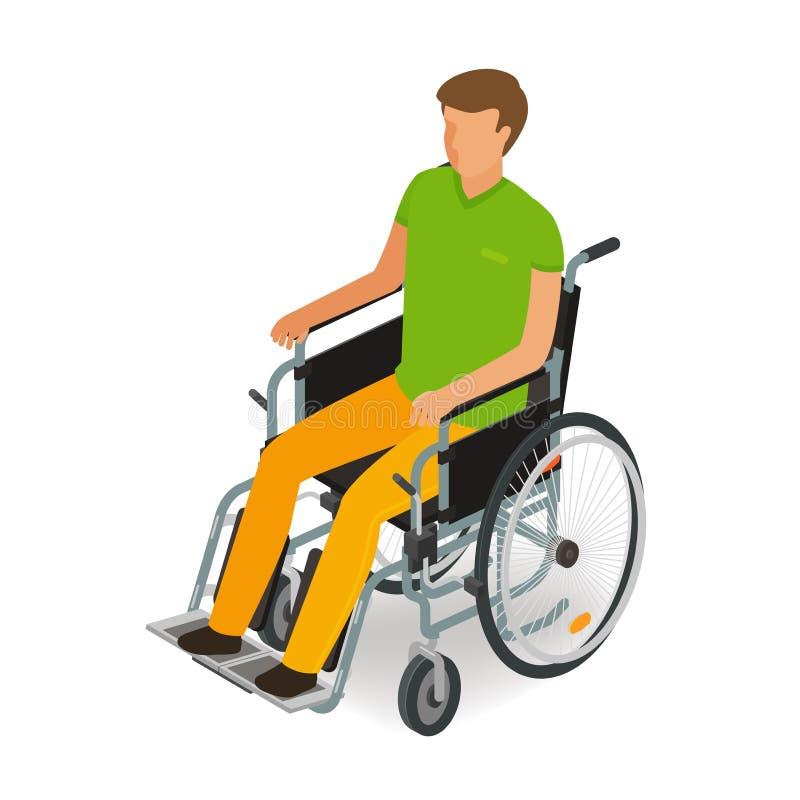 Rolstoelgebruiker, gehandicapt, gehandicapt mensenpictogram of symbool Beeldverhaal, vectorillustratie vlakke stijl royalty-vrije illustratie