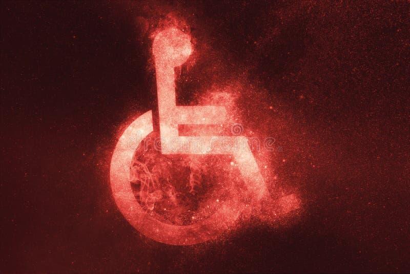 Rolstoelteken, Gehandicapt symbool De abstracte achtergrond van de nachthemel vector illustratie