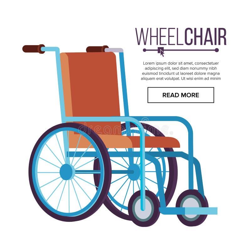 Rolstoelvector Klassieke Vervoerstoel voor Gehandicapten, Zieken, of Verwond, Medische apparatuur vlak royalty-vrije illustratie