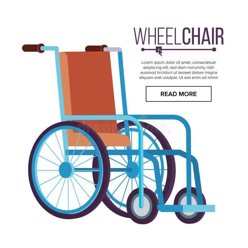 Rolstoelvector Klassieke Vervoerstoel voor Gehandicapten, Zieken, of Verwond, Medische apparatuur Vlak Geïsoleerd vector illustratie