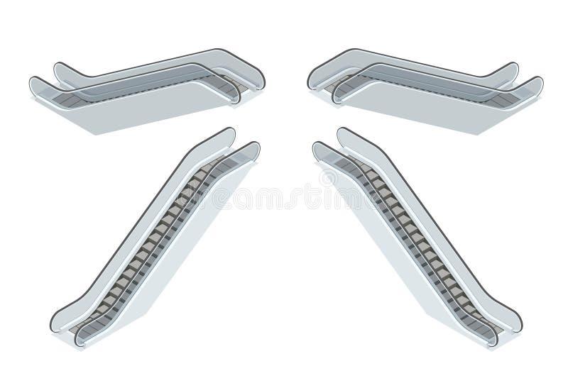 Roltrap Moderne architectuurtrede, lift en lift Vlakke 3d Vector isometrische illustratie stock illustratie