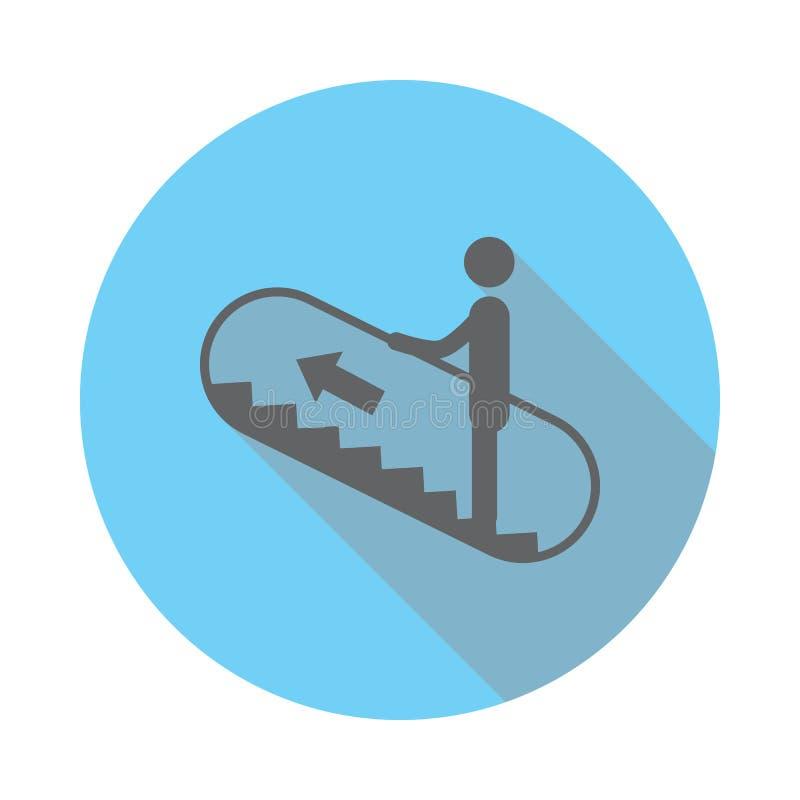 Roltrap op pictogram Elementen van luchthaven in vlak blauw gekleurd pictogram Grafisch het ontwerppictogram van de premiekwalite vector illustratie