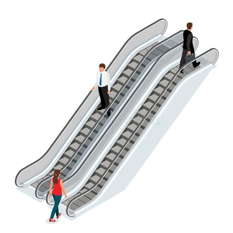 Roltrapbeeld Isometrische Roltrapillustratie Lift JPG Moderne architectuurtrede, lift en lift, Roltrap stock illustratie