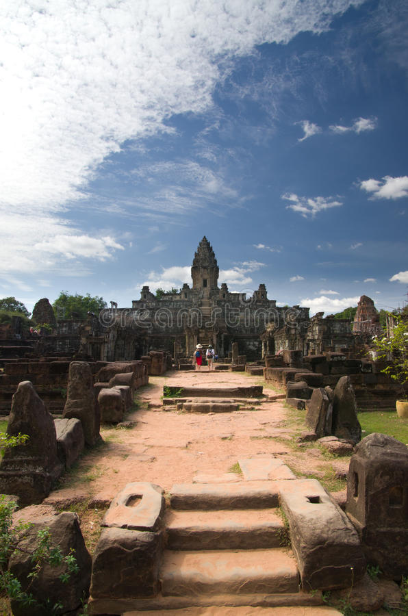 Roluos temples in Cambodia. Scenic view of ruined Khmer temples in Roluos, Cambodia stock photo
