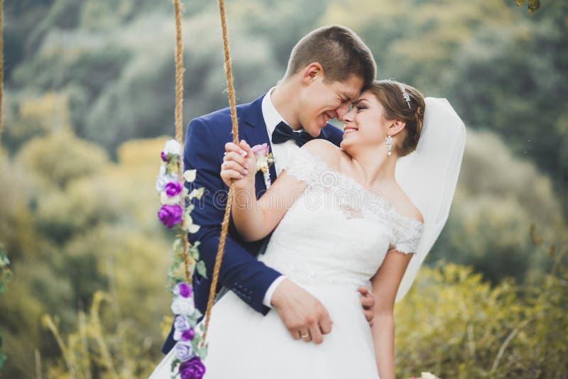 Romántico, cuento de hadas, pares felices del recién casado que abrazan y que se besan en un parque, árboles en fondo fotografía de archivo