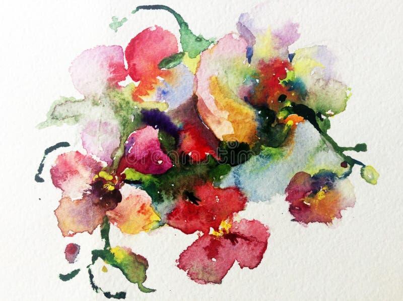 Romántico rosado violeta de la orquídea roja amarilla colorida de la flor del fondo del arte de la acuarela ilustración del vector