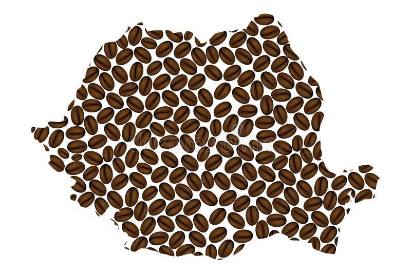Romênia - mapa do feijão de café ilustração do vetor