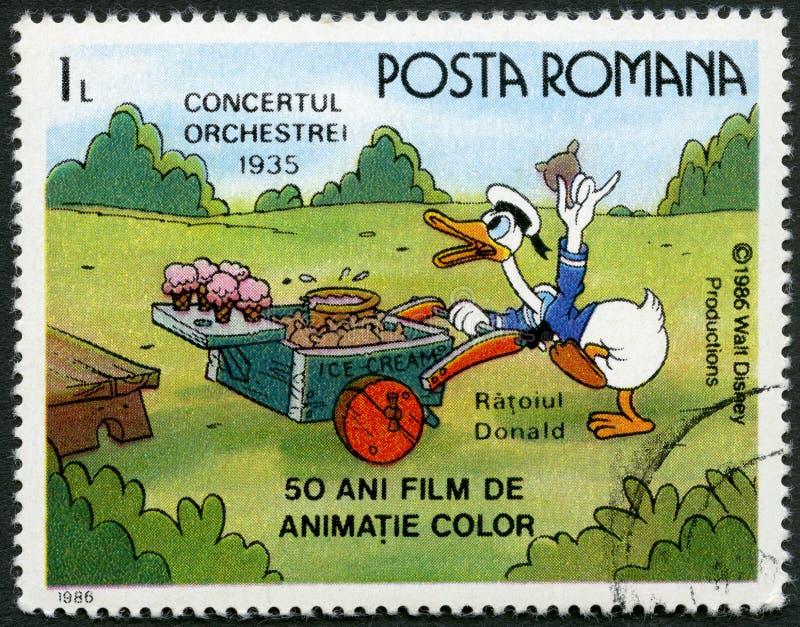 ROMÊNIA - 1986: mostras Donald Duck, caráteres de Walt Disney na faixa Concerto, 1935, devotado cinqüênta anos de filmes animados  ilustração royalty free