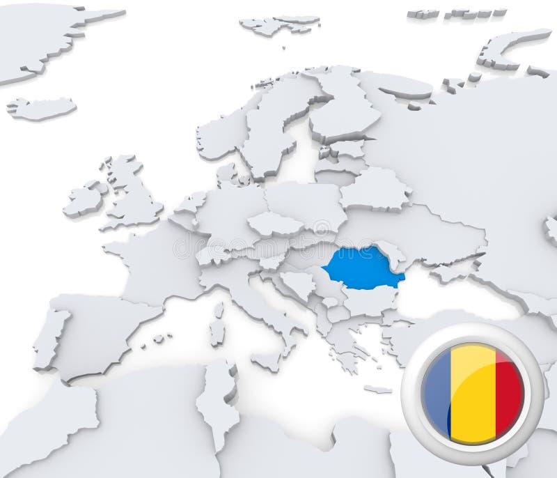 Romênia no mapa de Europa ilustração royalty free
