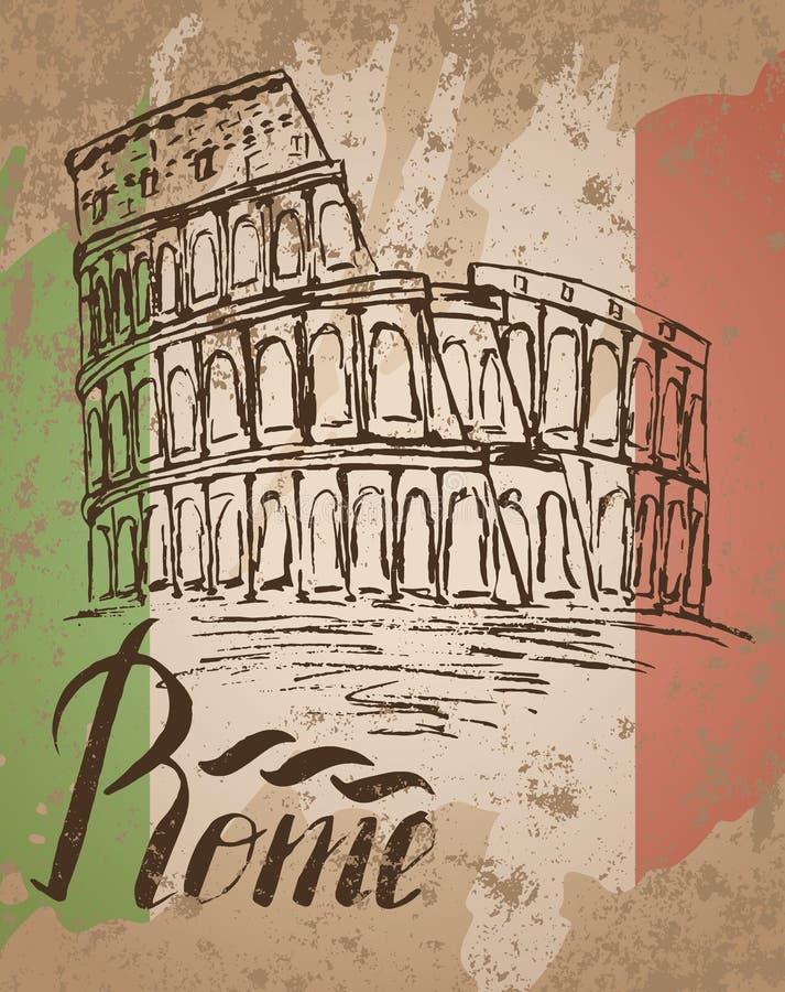 Rom-Aufkleber mit Hand gezeichnetem Kolosseum, Rom und italienische Flagge beschriftend vektor abbildung