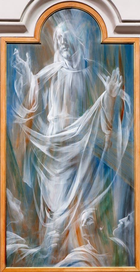 Rom - Besteigung von Jesus. Detail des modernen Freskos von dei Martiri Basilika Santa Maria-degli Angeli e stockbild
