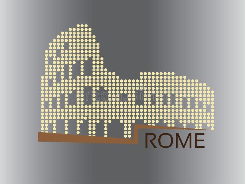 Rom - Colosseum punktierte Artillustration stock abbildung