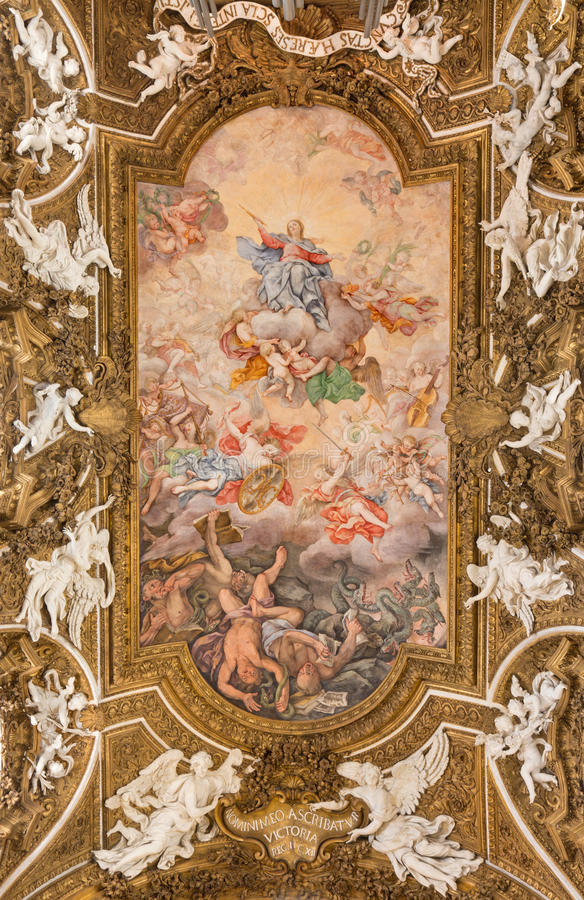 Rom - das Deckenfresko Triumph der Jungfrau in Kirche Chiesa-Di Santa Maria della Vittoria stockbilder