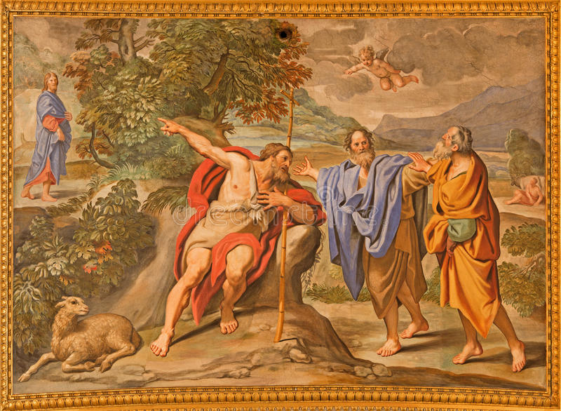Rom - das Fresko als das Johannes der Täufer zeigt die Christus-Kirche Basilica di Sant Andrea della Valle durch Domenichino stockbilder