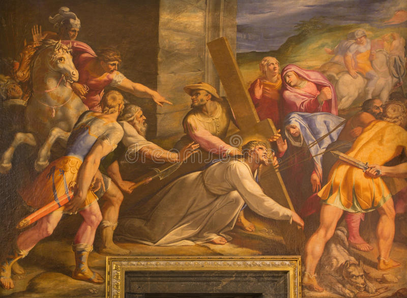 Rom - Detail der Farbe Christus fällt unter das Kreuz in der Kirche Chiesa Del Jesu durch Gaspare Celio (1571 - 1640) in der Kirc lizenzfreie stockfotos