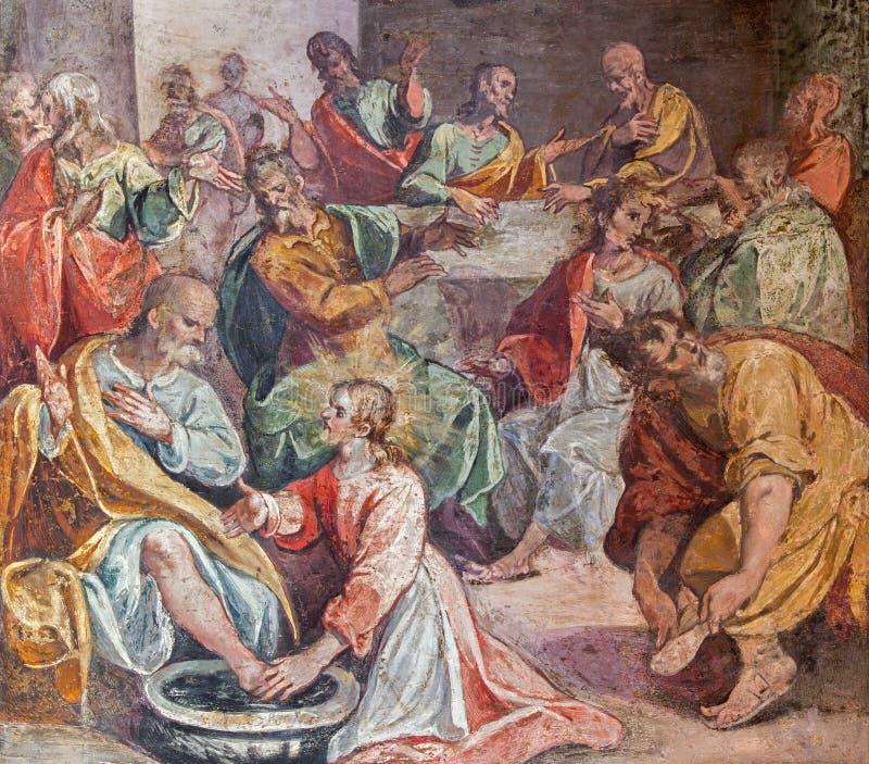 Rom - die Füße Szene des letzten Abendessens waschend Fresko in der Kirche Santo Spirito in Sassia lizenzfreie stockfotografie