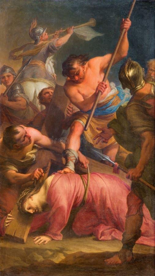 Rom - Farbe des Falles von Jesus unter Kreuz durch Andrea Casali (1777) im degli Spanoli Kirche Chiesa-della Santissima Trinita stockfotos
