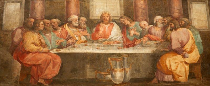 Rom - Fresko von letztem Super von Christ stockfoto