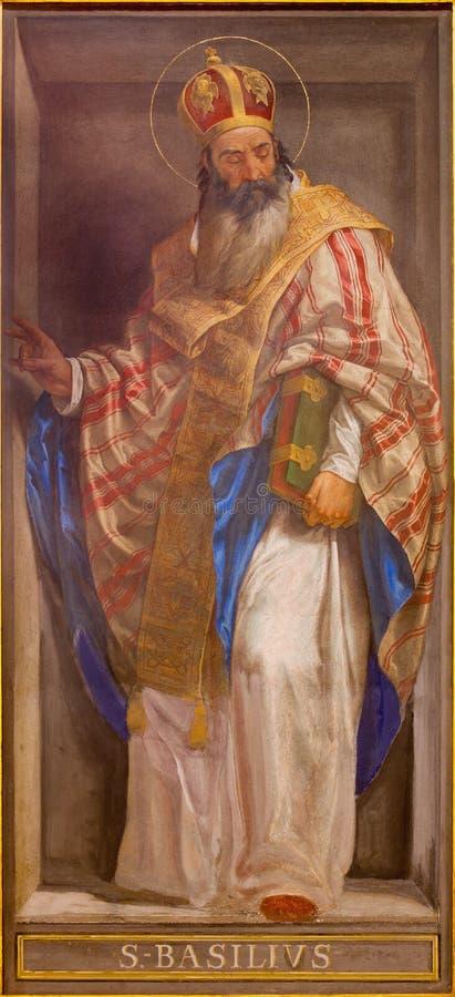 ROM, ITALIEN - 9. MÄRZ 2016: Das Fresko des Doktors des Kirchen-St.-Basilikums das große in Kirche Chiesa-Di Santa Maria in Aquir lizenzfreie stockfotografie
